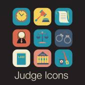 Law judge icon set, justice sign — Wektor stockowy