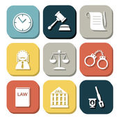 Law judge icon set, justice sign — Vector de stock