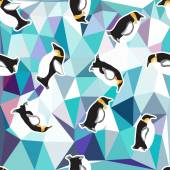 Crystal ice background with penguin. — Stock Vector