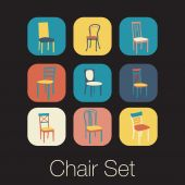 Chair icon set. symbol furniture — Stockvector