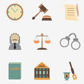Law judge icon set, justice sign — Vettoriale Stock