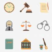 Law judge icon set, justice sign — Cтоковый вектор