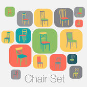 Chair icon set. symbol furniture — Stockvektor