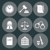 Law judge icon set, justice sign — Stockvektor