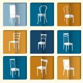 Chair icon set. — Stok Vektör