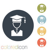 Graduate hat avatar icon — Stockvektor