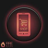 Symbol cart online store — Vector de stock