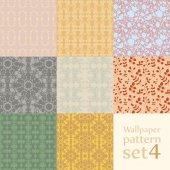 Floral wallpaper pattern set — Stock Vector