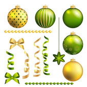Christmas decorative ball and ribbon set — Stock Vector