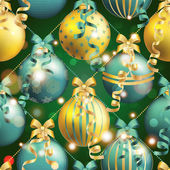 New Year pattern with ball. Christmas wallpaper — Stockvektor