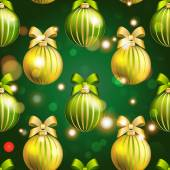 New Year ball pattern. Christmas wallpaper with bow and ribbon. — Stockvektor