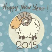 Greeting card with sheep — Stock Vector