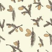 Fir pine cone seamless pattern — Stock Vector