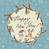 Fir cones Greeting card. Congratulations with new year and Christmas.  — Stockvektor