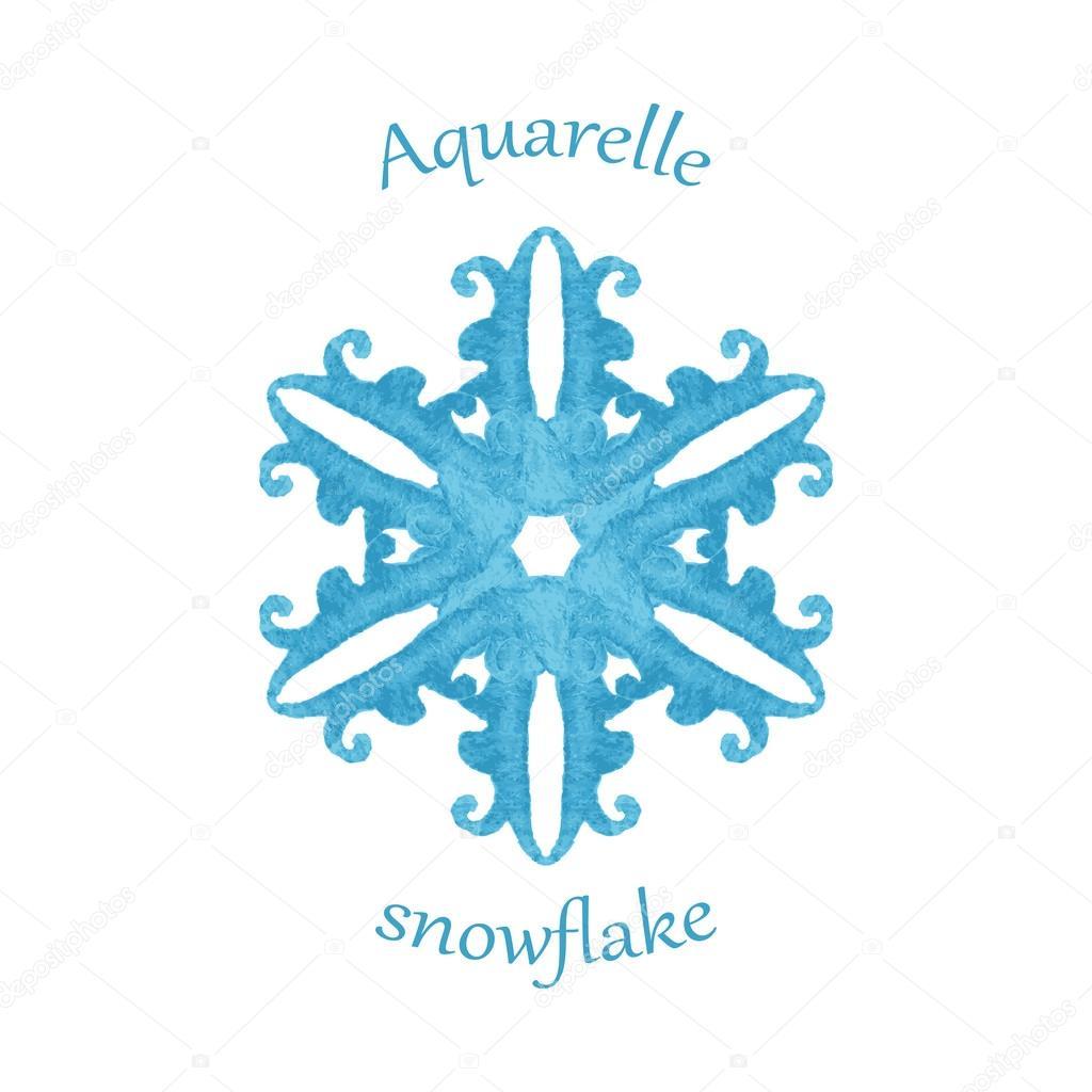 水彩画雪花,手画水彩冬季符号 — 图库矢量图片#59464643