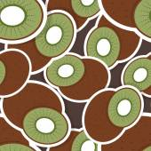 Kiwi pattern. Seamless texture with ripe Kiwi — Stock Vector
