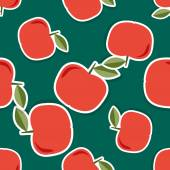 Apple pattern. Seamless texture with ripe red apples — Stockvector
