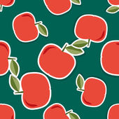 Apple pattern. Seamless texture with ripe red apples — Vettoriale Stock