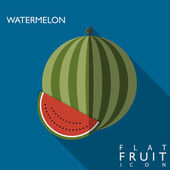 Melon d'eau plate icône illustration avec ombre portée — Vecteur