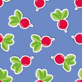 Radish pattern. Seamless texture with ripe radishes — Stock Vector