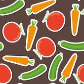 Cucumber, carrot, tomato pattern. seamless texture — Stock Vector