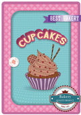 Cupcake poster. Retro Vintage design — Stock Vector