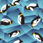 Ice background with penguins — Stock Vector
