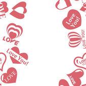 Modèle de coeur pour la Saint Valentin. Texture frontière sans soudure cadre avec coeurs — Vecteur