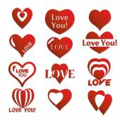 Heart icon. Set of Valentines icon — Stock Vector