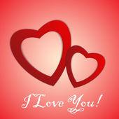 バレンタインの日。紙の心を抽象化します。大好きです。心とバレンタインの背景 — ストックベクタ