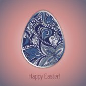 Easter egg greeting card with abstract hand drawn ornament.  — Stock Vector
