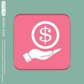 Mano sosteniendo el billete de un dólar. — Vector de stock
