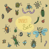 Set of cute cartoon insects — Stock Vector