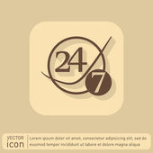 Icon 24 hours,  7 days sign. — Stock Vector