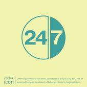 24 uur, 7 dagen pictogram — Stockvector