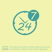 24 hours, 7 days icon — Vetor de Stock