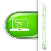 Laptop z zakupy koszyka ikonę — Wektor stockowy