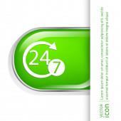 24 timmar, 7 dagar ikonen — Stockvektor