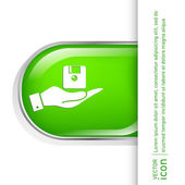 Hand holding floppy, diskette icon — Stock Vector