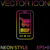 Smartphone with shopping icon — Stock Vector