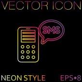 Smartphone con el icono de sms — Vector de stock