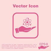 Ruky hospodářství atom, molekula — Stock vektor