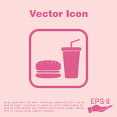 Burger and paper cup icon — Stock Vector