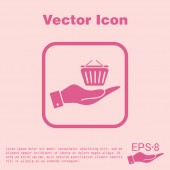 Hand holding online shopping icon — Stock Vector