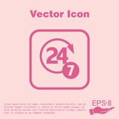 24 hours,  7 days icon. — Stock Vector