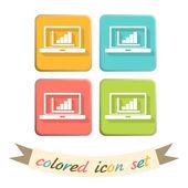 Laptop with symbol diagram — Stock Vector