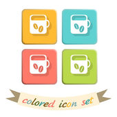 Cup of hot drink icons — Stockvector