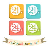 24 hours, 7 days icon set — Stock Vector