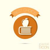 リンゴのアイコンが付いている本 — ストックベクタ