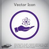 Hand holding  atom, molecule icon — Stock Vector